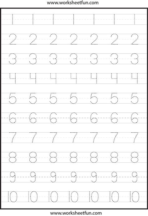 number tracing this actual page цифры kindergarten