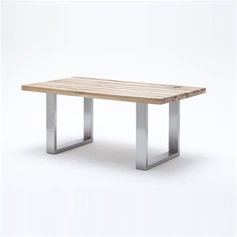 oak and steel dining table capello wild oak dining table with stainless steel legs
