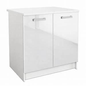 Meuble Bas Cuisine Blanc : start meuble bas de cuisine 80 cm blanc brillant achat ~ Teatrodelosmanantiales.com Idées de Décoration