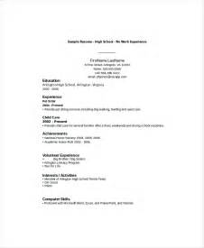 High School Student Resume Exles No Work Experience by Doc 728942 How To Write A Resume For High School
