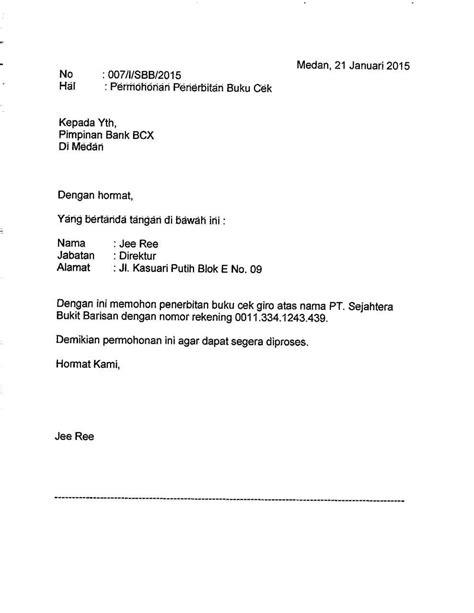 contoh surat pernyataan rekening gawe cv