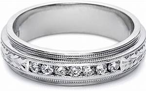 Tacori Mens Wedding Band With Hand Engraved Detail And