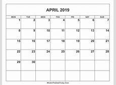April 2019 Calendar WhatisthedatetodayCom