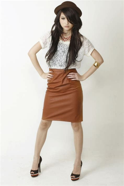 Brown leather skirt | Outfit Ideas | Pinterest