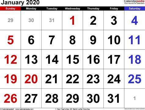 january calendars word excel
