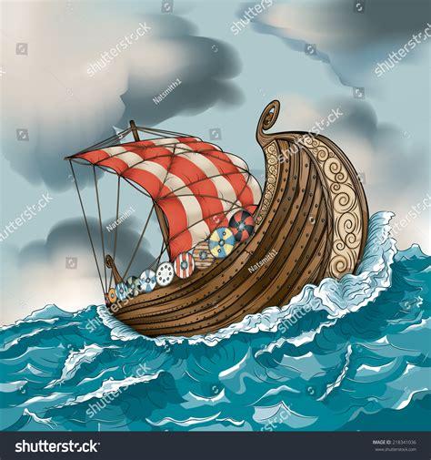 Viking Boat Drawing Easy by Vector Drawing Vikinglong Ship Easy Edit Stock Vector