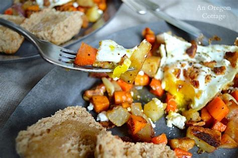 Roasted Root Vegetable Hash With Eggs, Bacon, Feta & Walnuts