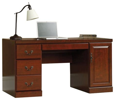 Sauder Executive Desk With Hutch by Sauder Heritage Hill Computer Credenza Transitional
