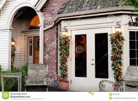 Holiday Home Exterior Decorations Royalty Free Stock