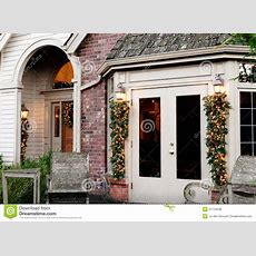 Holiday Home Exterior Decorations Stock Photo  Image Of