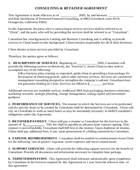 sample consulting retainer agreement templates