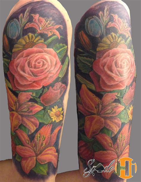 spadeflower tattoo sleeve color flower tattoo flower
