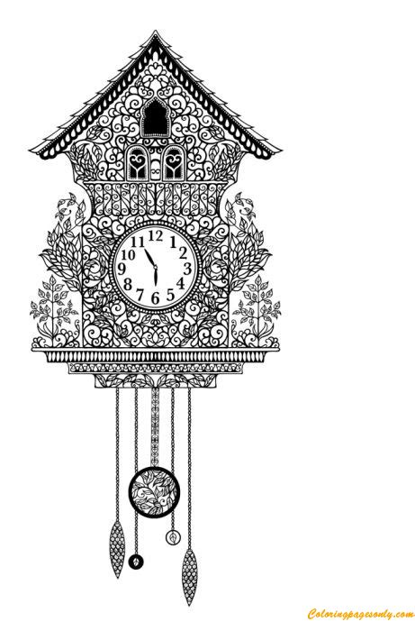 antique cuckoo clock coloring page  coloring pages