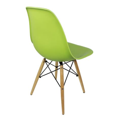 set of 2 eames style dsw molded lime green plastic dining