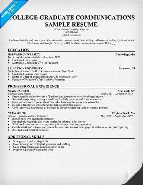 resume sample  college graduate biodata format