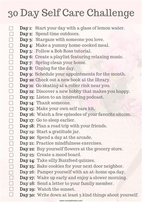 days   care challenge checklist nunziadreams