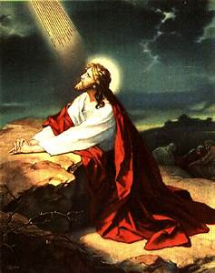 Bright drawing picture of Jesus praying to God in the ...
