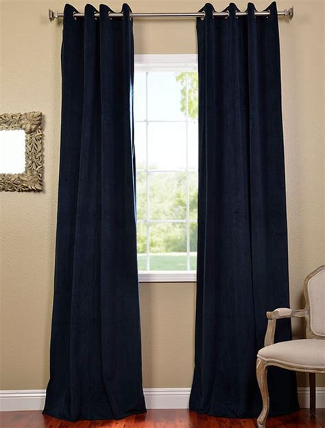 midnight blue grommet velvet blackout curtain