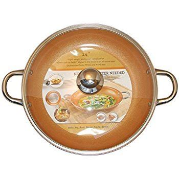 copper frying pan    tempered glass lid  stick ceramic infused titanium steel