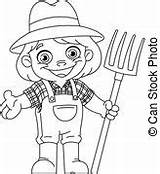Farmer Outlined Rake Man Coloring Young Happy Vector Carrying Pitchfork Holding Line Illustration sketch template