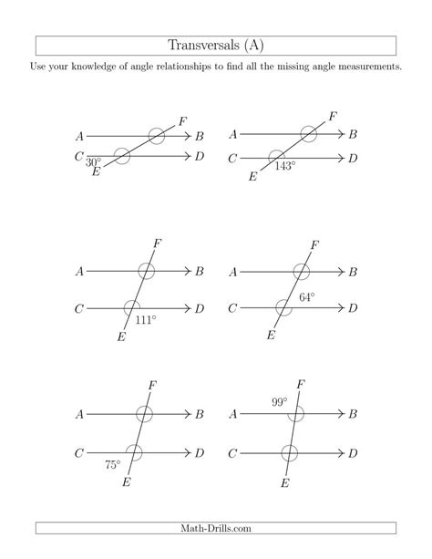 angle relationships in transversals a