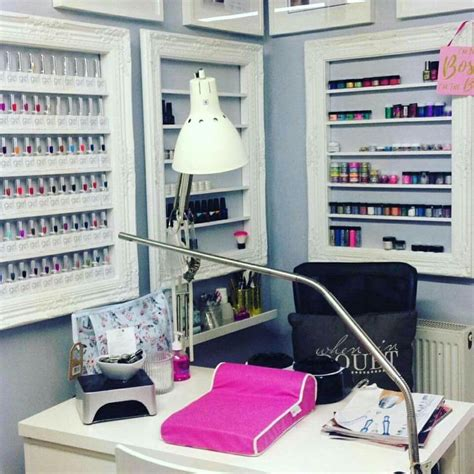 Decorating Ideas Salon Station by Home Nail Salon Decor Nail Room Ideas Nail Station