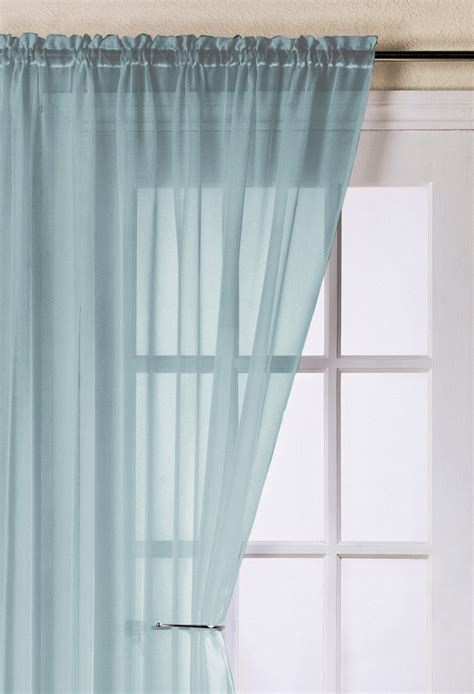 Voile Curtains by Trent Duck Egg Voile Panel Woodyatt Curtains Stock