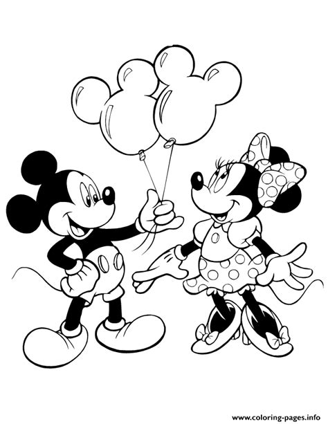 print mickey giving minnie mouse balloons disney coloring