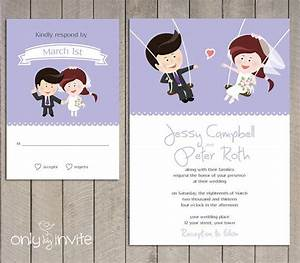 cartoon bride groom on the swings wedding invitation With free printable funny wedding invitations
