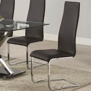 Modern, Dining, Black, Faux, Leather, Dining, Chair, With, Chrome, Legs