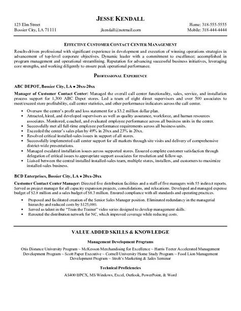 call center resume sle customer service resume call center