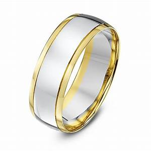 9kt white yellow gold court 7mm wedding ring With white and yellow gold wedding ring