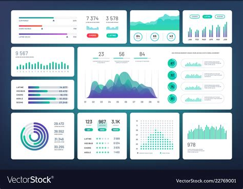 infographic dashboard template simple green blue vector image