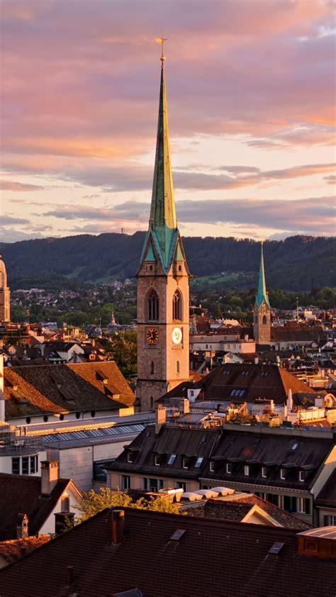 zurich switzerland roofs buildings sky iphone