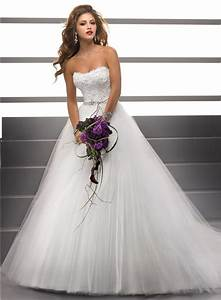 Simple Ball Gown Strapless Lace Tulle Puffy Wedding Dress ...