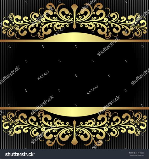 elegant black background royal golden borders stock