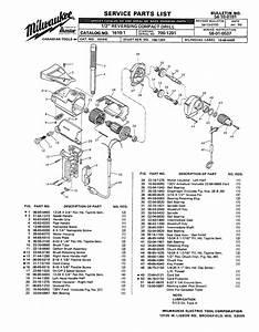 Milwaukee 1610-1 700-1201 Parts  2 Reversing Compact Drill
