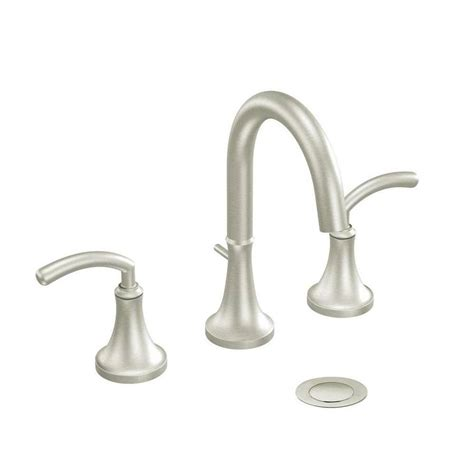 shop moen icon brushed nickel  handle widespread bathroom sink faucet  lowescom