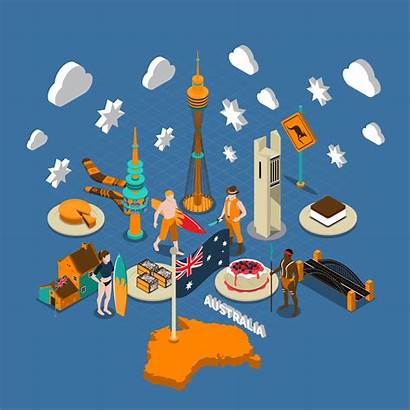 Australia Symbols Australian Attractions Isometric Touristic Composition