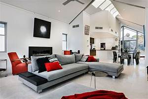 Grey l shaped sectional sofa with white interior color for for Interior decorating l shaped living room