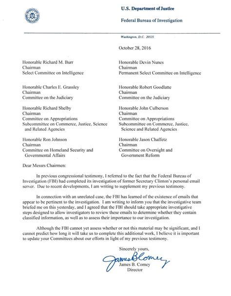 fbi honors internship program cover letter what the fbi director s letter about the clinton emails