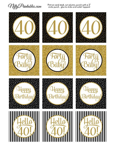 printable  birthday cupcake toppers black gold