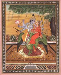 Vishnu with Lakshmi Seated on His 'Vahana' Garuda