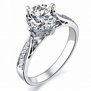 1 carat gia certified diamond engagement ring on 9ct white With images of white gold wedding rings