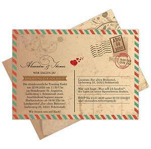 einladungskarten zur hochzeit als postkarte im  airmail