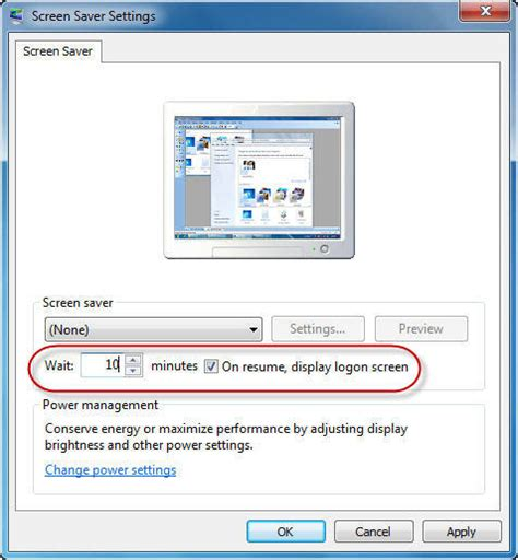 automatically lock windows 7 after being idle