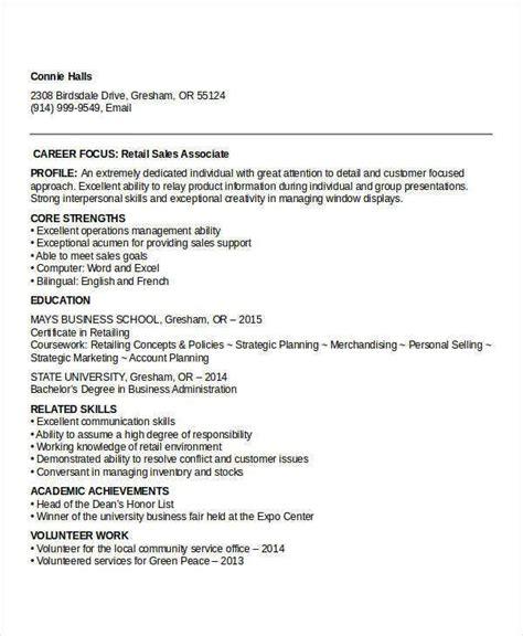 sample retail sales resume templates