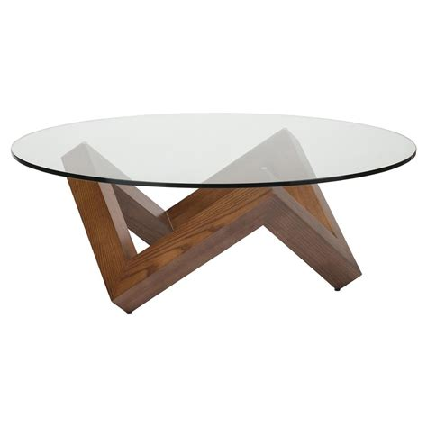 Once assembled, the coffee table measures to be 18.125h x 35.375w x 35.375d. Caesar Mid Century Modern Brown Wood Tempered Round Glass ...
