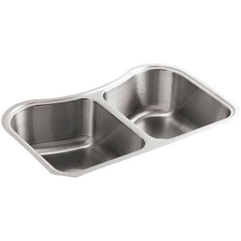 kohler d bowl sink kohler staccato undermount stainless steel 32 in double