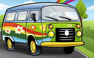 How to Draw a Hippie Van, Step by Step, Trucks ...